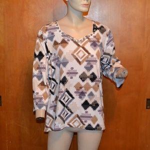 Alfred Dunner Geometric Shape Design 3/4 Sleeve 2X